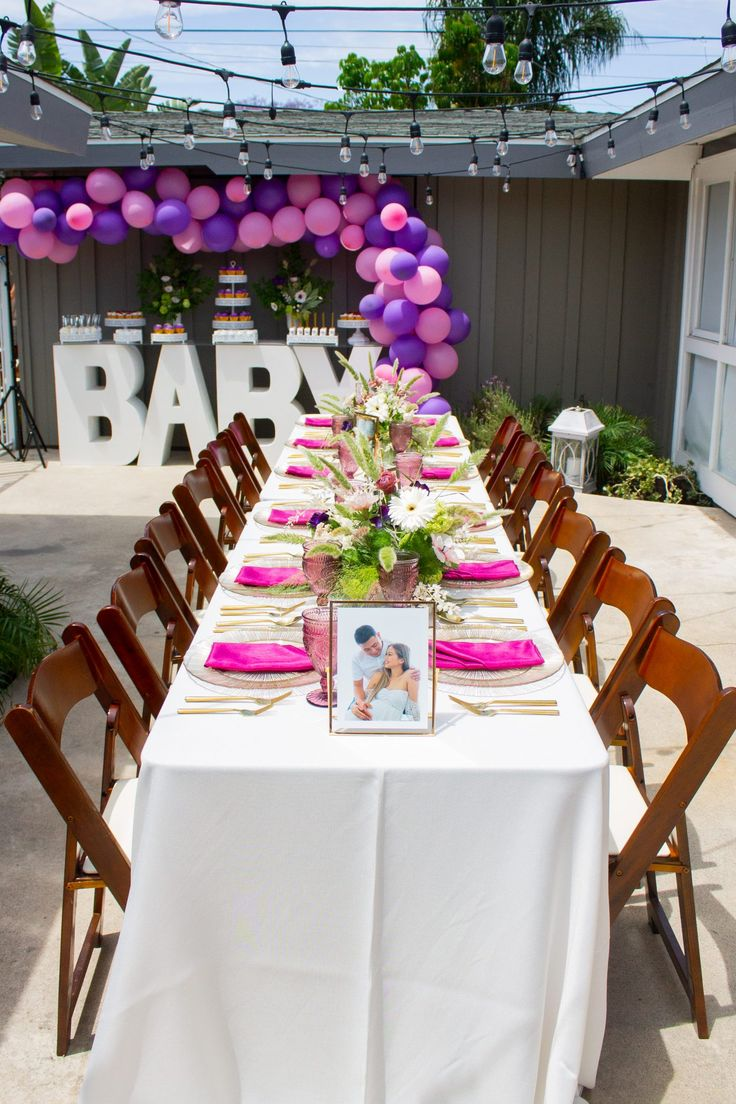 Pink And Purple Backyard Baby Shower Baby Shower Dessert Table Girl Mauve Baby Shower Baby Shower Table Centerpieces