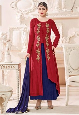 Red Satin Achkan Style Salwar Suit #achkan #achkanstylaesalwarsuit #achkanstylesalwarkameez #salwarsuitonline #salwarkameezonline #designer #stylish #dress #onlineindiandress #sale#nikvik #freeshipping #usa #australia #canada #newzeland #Uk #UAE