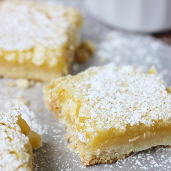 By far the most delicious recipe for lemon bars I've ever tasted. I don't usually like lemon bars yet I can eat an entire pan of these!