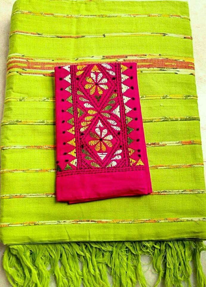 Authentic Kapass Khadi Khesh plain  Handloom saree with Kantha stitch blouse piece. Price-1650 Running blouse piece included