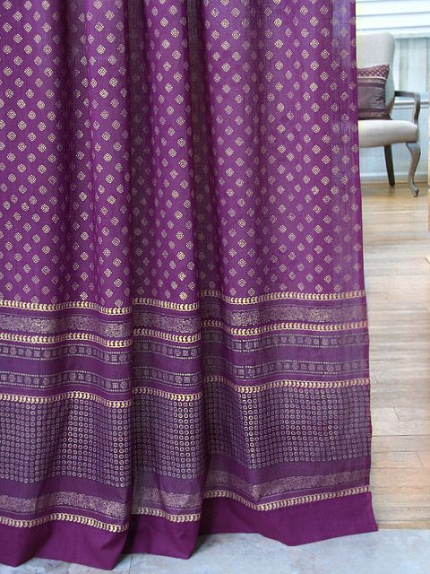 Dark Purple Curtain, Plum Purple And Gold Curtains, Sari India Sheer Curtain  Panels