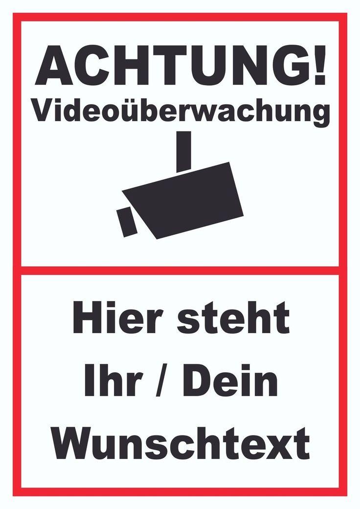 Achtung Videoüberwachung Schild inklusive Wunschtext #Überwachung #Video #Kameras #Hinweis
