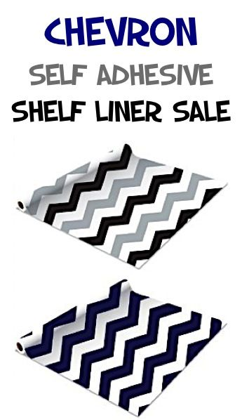 Chevron Self Adhesive Shelf Liner 2-pack Sale: $10.99!! {SO cute for the kitchen cabinets, pantry shelves, decorating the inside back of your bookshelf or re-purposing a bookshelf into a dollhouse!}