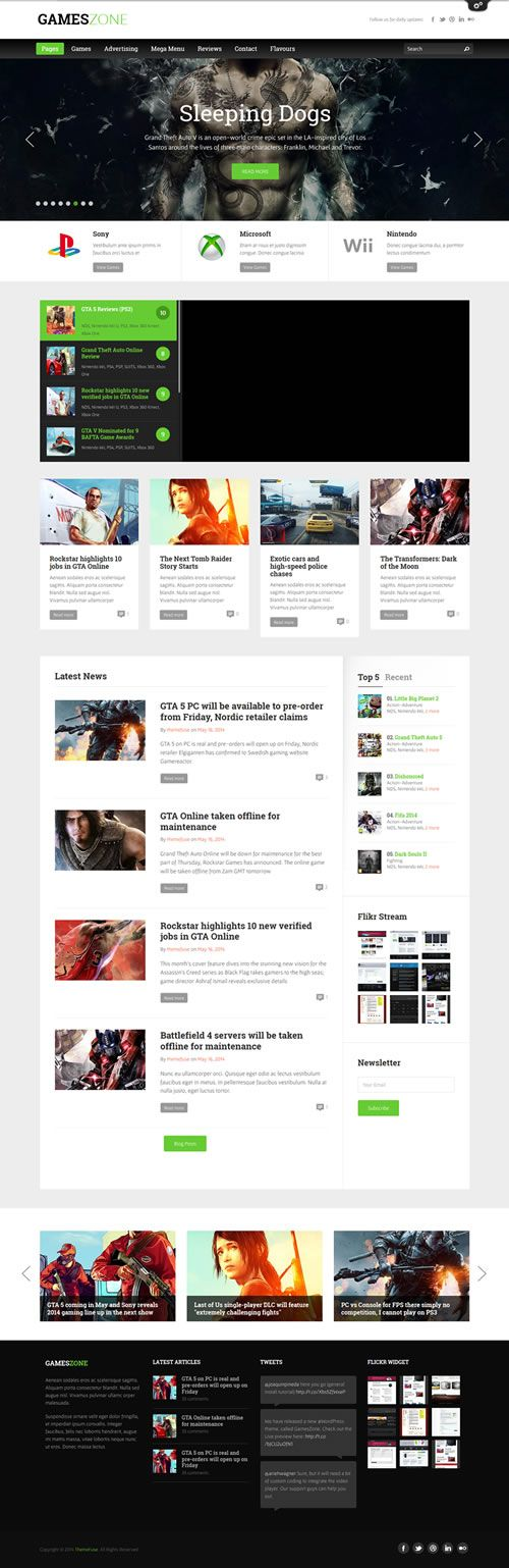 Szablon WordPress GamesZone - http://klubok.pl/szablon-wordpress-gameszone/