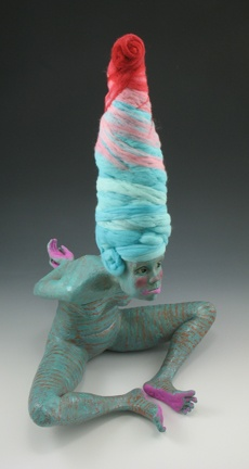 magdalene Gluszek sculpture. I love all the different textures she's incorporated; sand, felted wool, glaze...