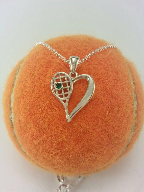 ON SALE Sterling Silver Heart of Tennis by LoveSportsJewelry