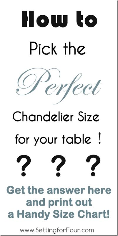 No second guessing! Helpful formula on How to pick the Perfect Chandelier Size with Printable Size Chart from Setting for Four