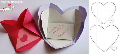 Cartão e envelope de coração