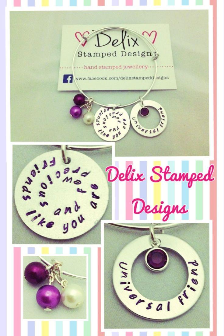 Friends hand stamped adjustable bracelet  www.delixstampeddesigns.co.uk