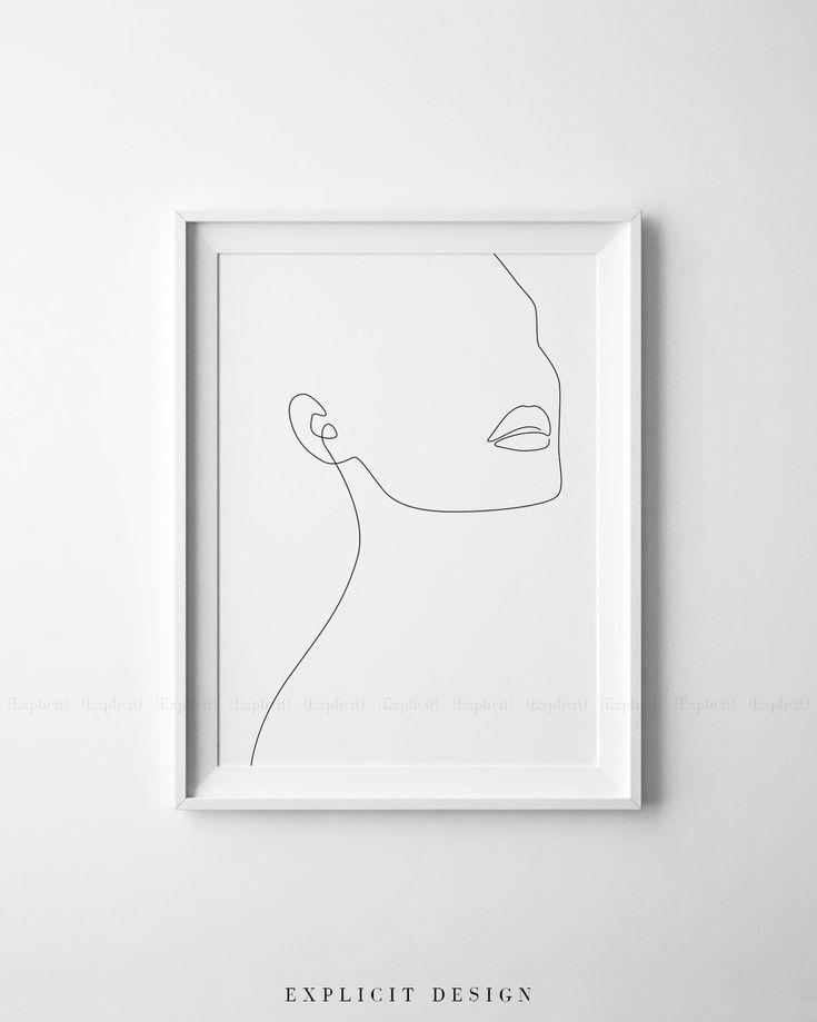 Minimalistische Mädchenskizze Art Woman In One St…