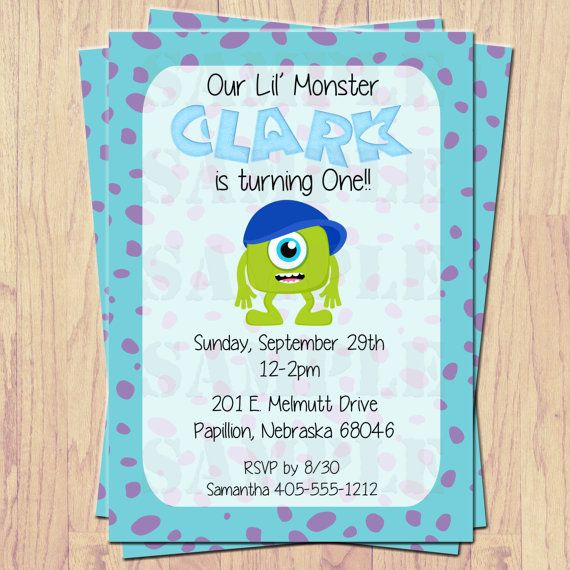 Monster's Inc. Party Invitations- Print at home- DIY on Etsy, $12.00
