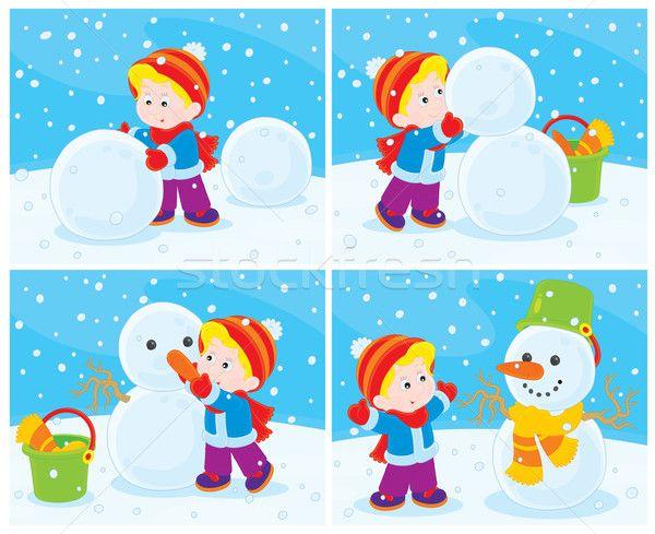 Stock fotó: Fiú · vicces · gyermek · hó · tél · sétál
