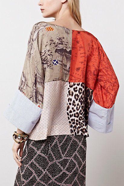 Julie Patchwork Blouse - Anthropologie.com mixed fabrics top
