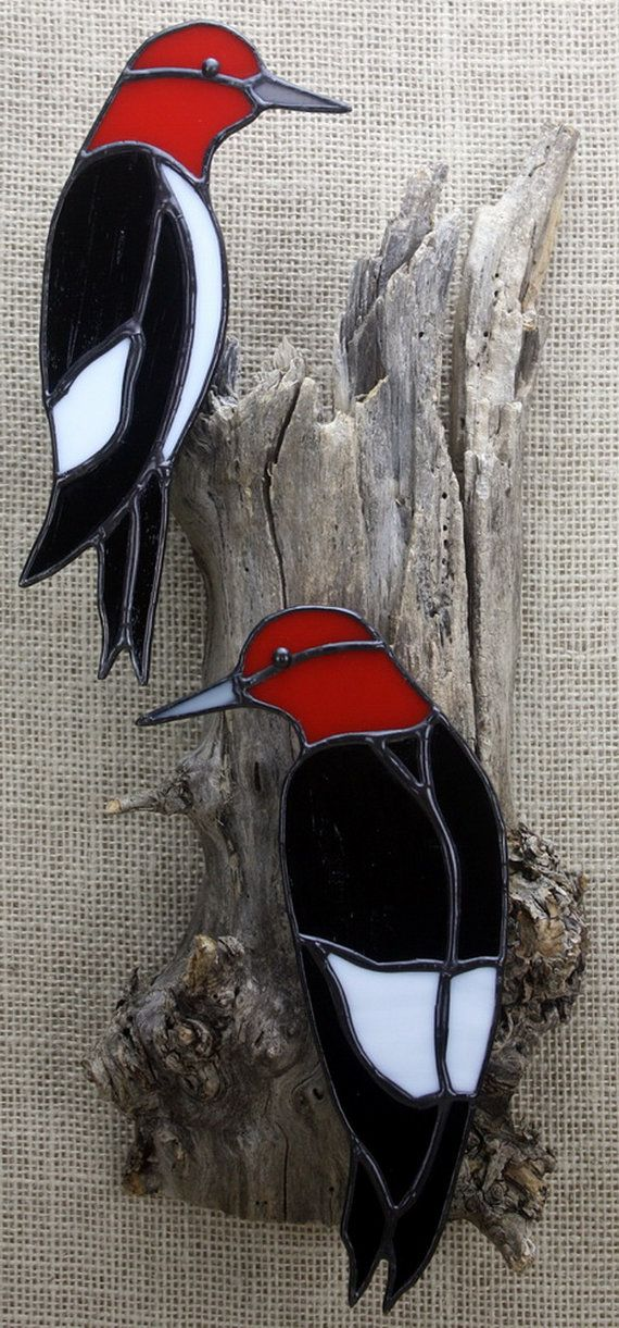 Stained Glass Red Headed Woodpecker Birds Pair Wall Hanging Life size pair of Stained Glass Red Headed Woodpeckers on real weathered wood. Birds are approx. 8 tall Overall size is approx. 15 tall x 7 wide x 3.25 deep  To see more beautiful birds: https://www.etsy.com/shop/BerlinGlass/search?search_query=bird&order=date_desc&view_type=list&ref=shop_search  To see the rest of our shop: BerlinGlass.etsy.com  To see more of my Stained Glass…