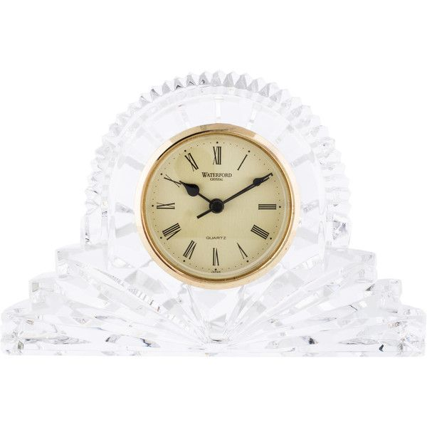 Pre-owned Waterford Crystal Crystal Desk Clock (£77) ❤ liked on Polyvore featuring home, home decor, clocks, clear, crystal mantel clock, waterford, waterford desk clock, second hand clock and crystal clock