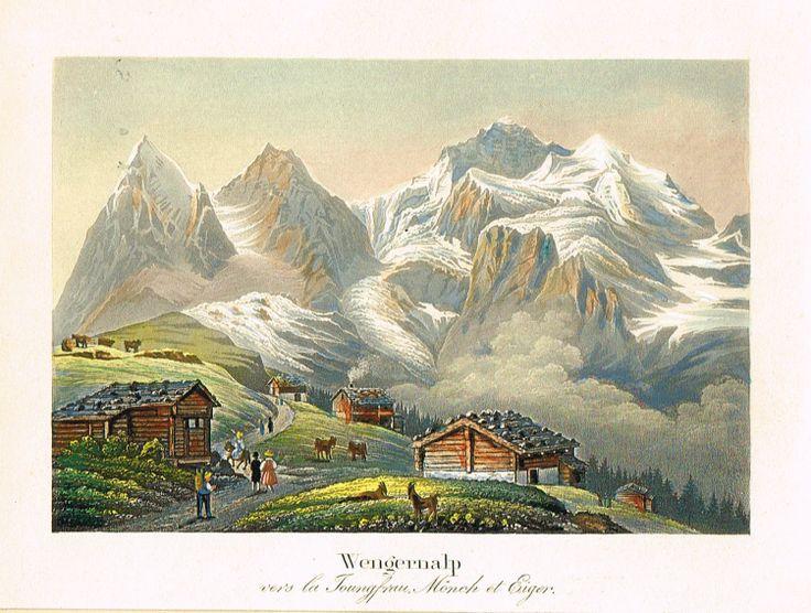Wengernalp vers la Joungfrau, Mönch et Eiger - MAS Estampes Anciennes - MAS Antique Prints