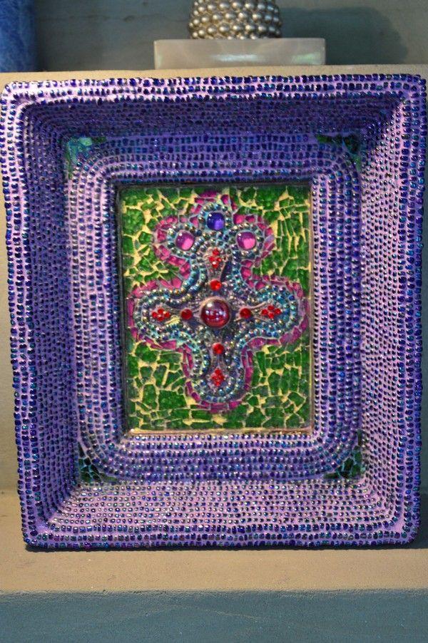 Faith - glass mosaic and pearls www.ayaglass.hu