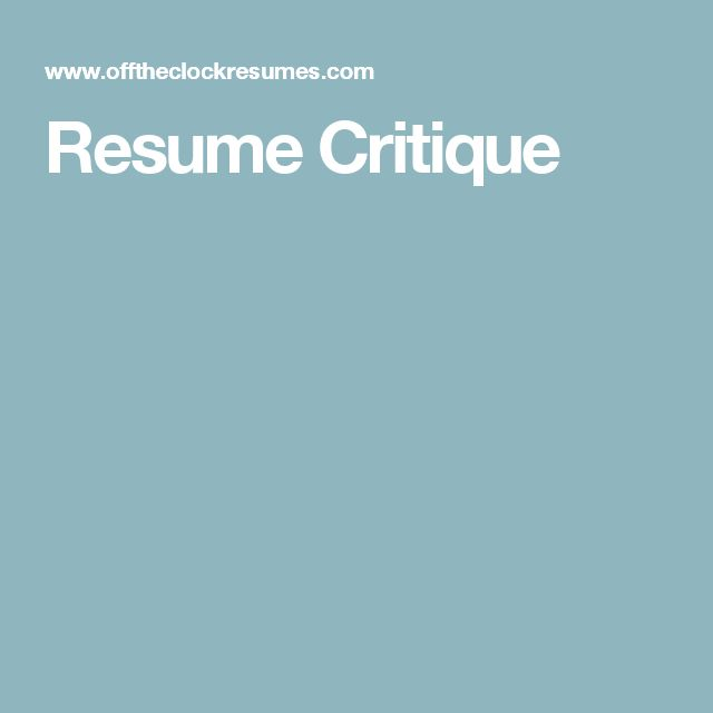 66 best Resume help images on Pinterest Resume help, Resume - resume critique free