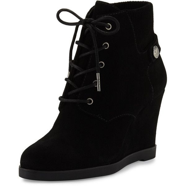 Michael Michael Kors Carrigan Suede Wedge Ankle Boot ($225) ❤ liked on Polyvore featuring shoes, boots, ankle booties, black, booties, wedges, lace-up wedge booties, black suede bootie, black lace up booties and black lace up boots