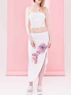 #White Painted Casual H-line Floral #Midi #Skirt