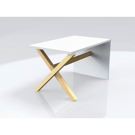 New coffee table launched in December 15. Simple construcion, crossed wooden legs + white board. By womeb