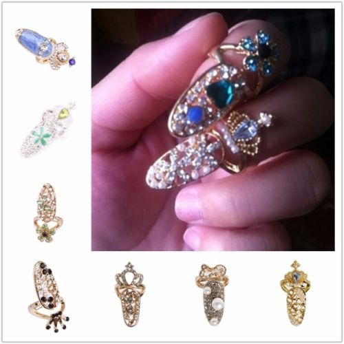 Lady Women Finger Rings Fashion Gold Bowknot Heart Skull Design Nail Art Jewelry