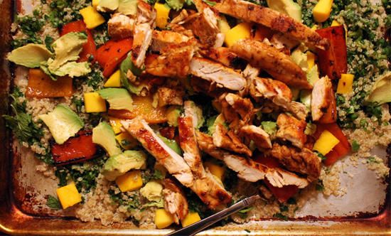 Blackened chicken and quinoa salad, adapted from Jamie Oliver's 15-Minute Meals - quinoa, chicken, jalapeño, mango, feta... Mmmmm...