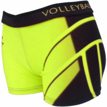 Shorts   Printed Spandex Sport Shorts - Neon Yellow Volleyball