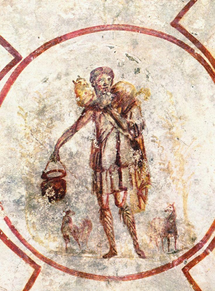 Il Buon Pastore, IV d.C. Catacombe di San Callisto. Cultura cristiana romana