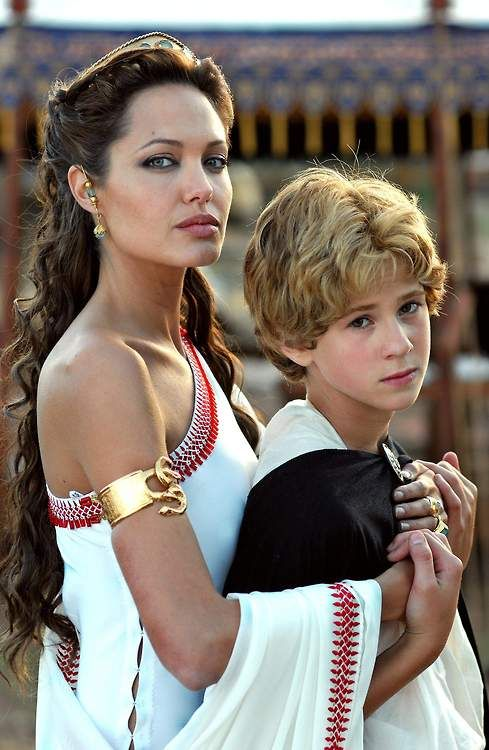 Connor Paolo as a young Alexander the Great and Angelina Jolie as his mother, Olympias, in the movie Alexander.