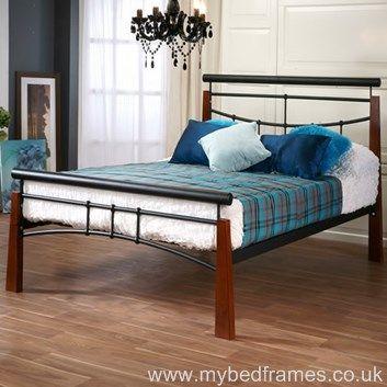vanguard metal and walnut bed frame metals unique and beds. Black Bedroom Furniture Sets. Home Design Ideas