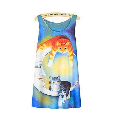 (シーファニー)Cfanny レディース 可愛い プリント ロング丈 ゆったり 猫柄 ファッション トップス タン…
