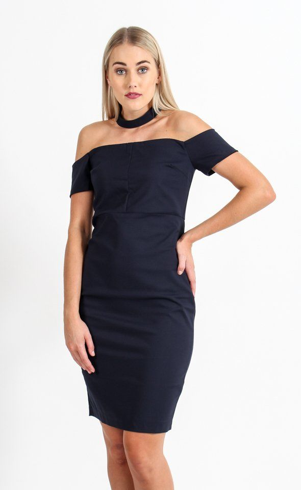 The evening dress to make a statement. This Suiting In Built Choker Dress is the perfect dress with it's figure hugging form and standout in built choker. Pair with subtle accessories to finish this look.