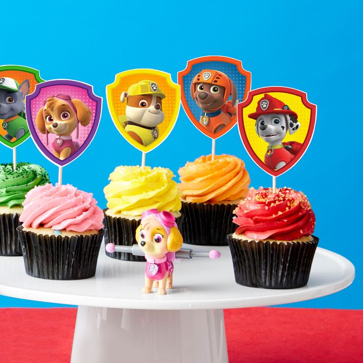 PAW Patrol Cupcake Toppers FREE PRINTABLE from Nickelodeonparents.com site & wrappers, too