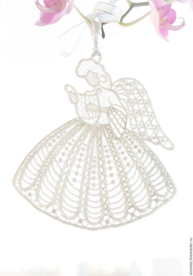 Купить вышитая интерьерная подвеска Белый Ангел Фея Музыки игрушка для мобиля - вышивка аппликация