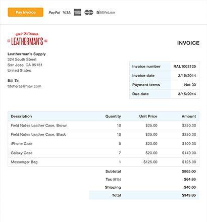 17 parasta ideaa: free online invoice pinterestissä, Invoice examples