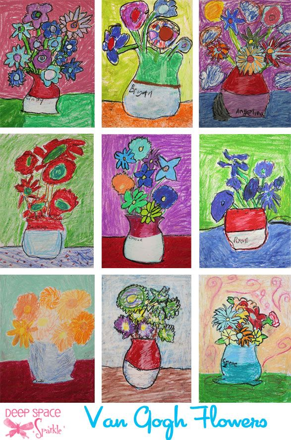 To start, children drew a vase and then the flowers. We used one color to draw with (preferably a light color oil pastel). It was my intent to have the students chose warm or cool colors to for their flowers. I showed Van Gogh's Sunflowers and we talked alot about the colour wheel.