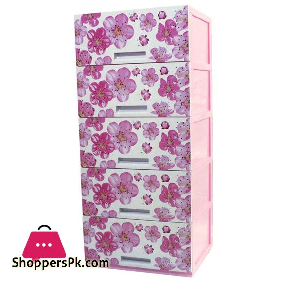 Buy Plastic Drawers Cabinet 5 Layer Flower At Best Price In Pakistan In 2020 Plastic Drawers Drawers Baby Clothes Storage