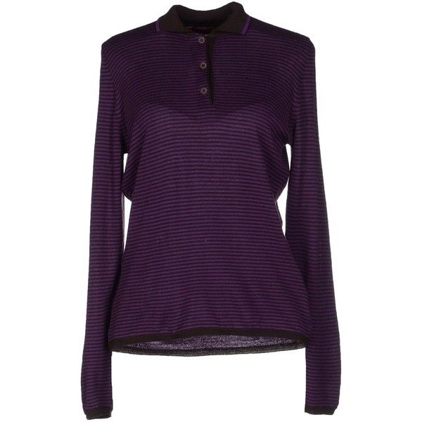 Gallo Jumper (2,640 EGP) ❤ liked on Polyvore featuring tops, sweaters, purple, lightweight sweaters, purple top, purple long sleeve top, long sleeve sweater and purple sweater