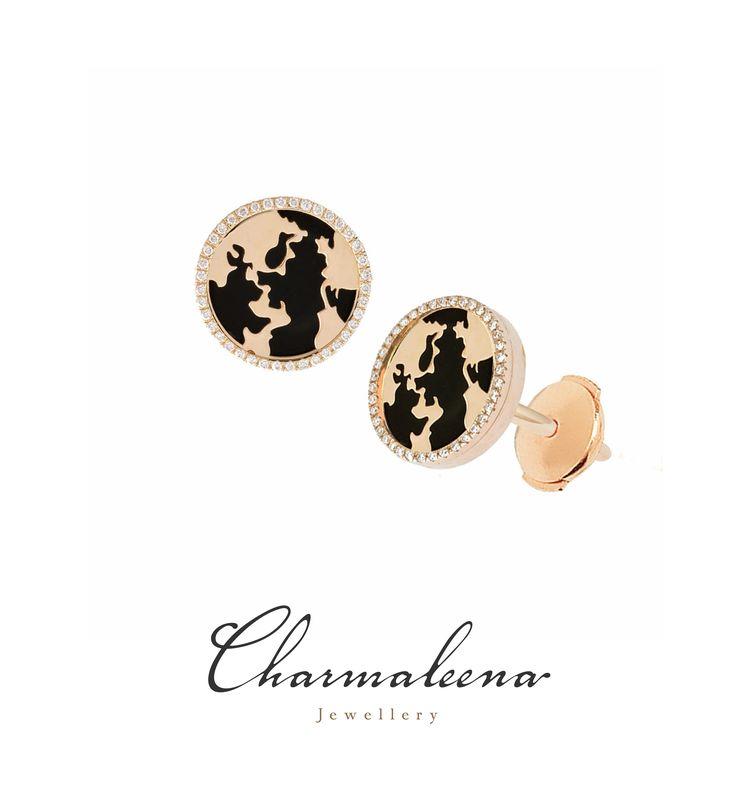 My World Earrings – Black Onyx Framed in Diamonds in Yellow Gold.. #world  #diamond #earring  #jewellery  #mycharmaleena #charmaleena #finejewellery  #yellowGold   #jeddah #riyadh #ksa #saudi #saudiarabia #Dubai #online #جدة  #السعودية  #دبي #الرياض