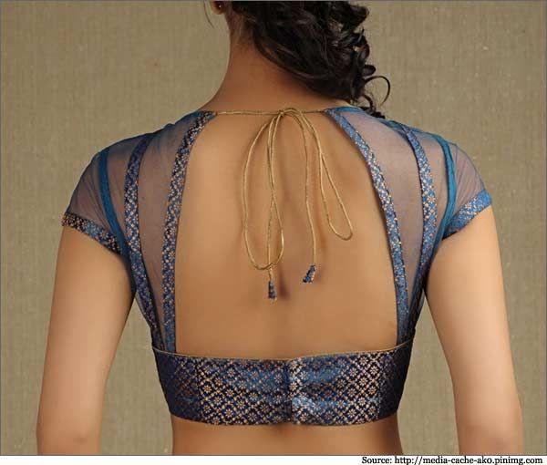 Simple-lace-blouse-with-golden-noodle-string-Party-wear-Designer-Blouse-designs