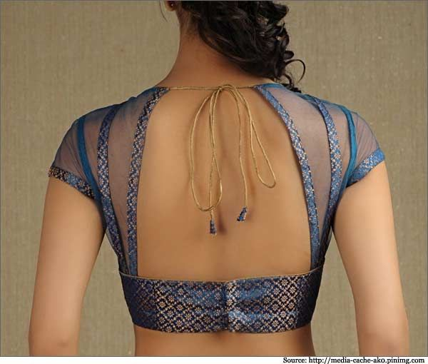 Simple-lace-blouse-with-golden-noodle-string-Party-wear-Designer-Blouse-designs