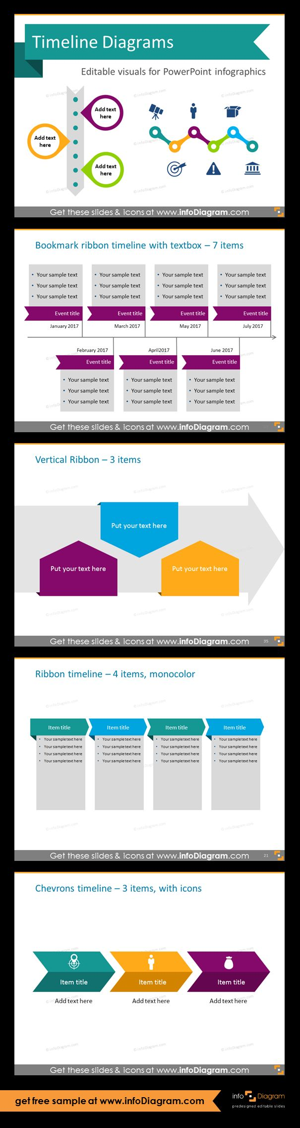 Template slides for Timeline diagrams and Time infographics. Editable PowerPoint graphics for showing history, agenda, linear process flow charts, project timelines, planning phases and roadmaps by modern infographics. Bookmark ribbon, vertical ribbon and chevrons timeline. Use these timeline charts in various document: review reports in Word docs, project reviews and planning presentations or in Excel along calendar tables to show deadlines.