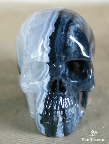 Black Zebra Agate Crystal Skull 3