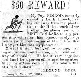 Tampa newspaper ad offering a reward for the return of Dr. Edmund Jones' slave