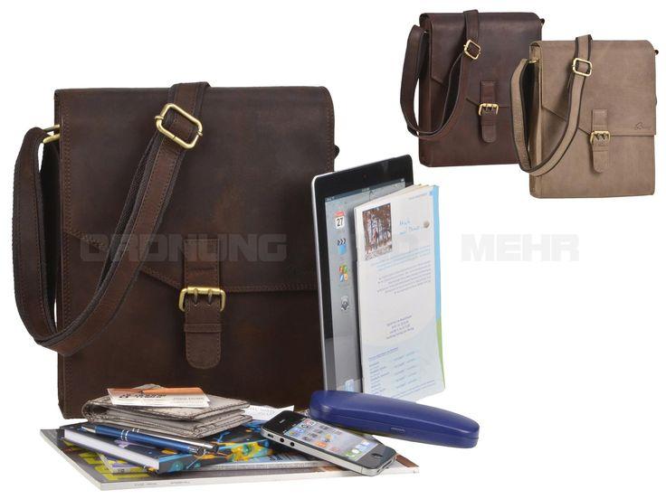 DETHLOFF - Leder Umhängetasche Herrentasche Schultertasche Postbag Hochformat - 2 Farben D038808