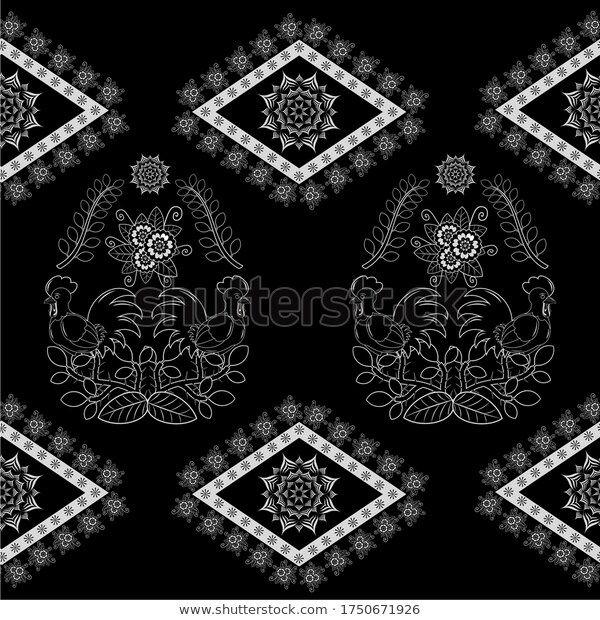 Find Modern Indonesian Batik Rooster Theme Pattern Stock