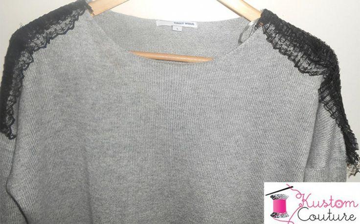 customiser un pull avec des rubans tee shirt recup pinterest. Black Bedroom Furniture Sets. Home Design Ideas