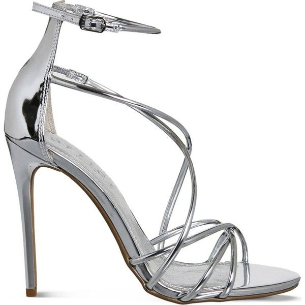 OFFICE Angel metallic heeled sandals ($83) ❤ liked on Polyvore featuring shoes, sandals, silver mirror, strappy heel sandals, silver heel sandals, strappy stiletto sandals, strap sandals and silver shoes