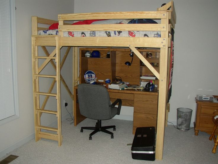 underneath loft desk with bed living full room for plans size bunk adults